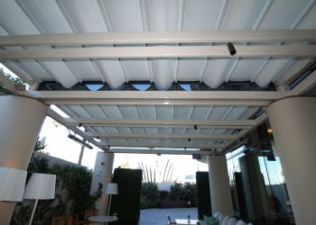 Retractable Restaurant Patio Canopy at the Waldorf Astoria Beverly Hills